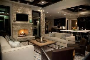 Living Room With Fireplace And Kitchen Fireplace Wall With Flatscreen Tv Niche