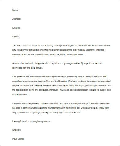 Externship Cover Letter by Sle Cover Letter For Assistant 8 Exles In Word Pdf