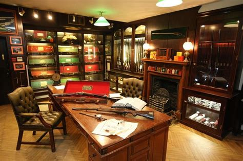 gun room desk display fireplace gun room