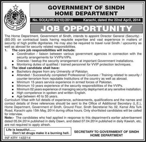 home department sindh 2014 april may for director