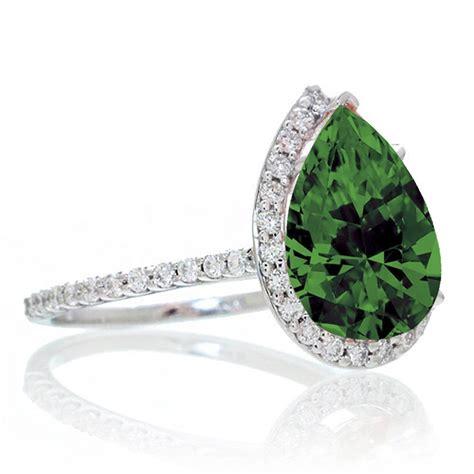 2 5 carat pear cut emerald halo desiger engagement for