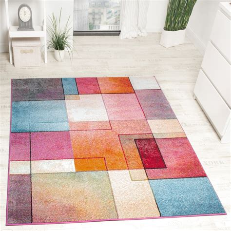 teppich rund modern designer teppich modern bunt karo muster multicolour
