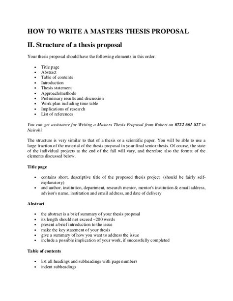 how to write a kenya master s thesis proposal outline