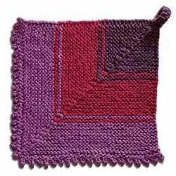 knitted cast on middle of row domino square potholder with quot mouse teeth quot picot edge from