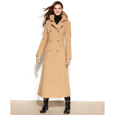 Maxi Coat klein breasted wool blend hooded maxi coat in