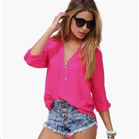 3 4 Sleeve Blouse Lois 83 tops pink chiffon 3 4 sleeve blouse from