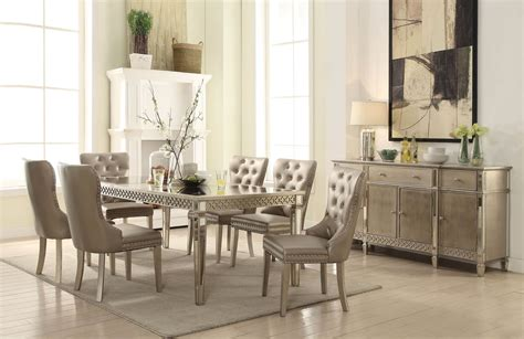 Mirrored Dining Room Set Kacela Mirrored Dining Set Chagne Finish Usa Warehouse Furniture