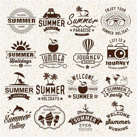 antique design summer typography designs summer logotypes set vintage