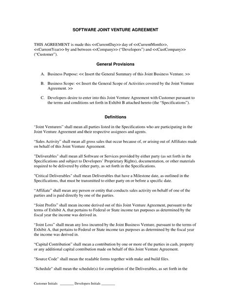 joint venture agreement template doc joint venture agreement sle doc