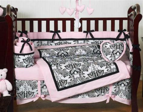 Pink And Black Damask Baby Shower Pink And Black Damask Crib Bedding