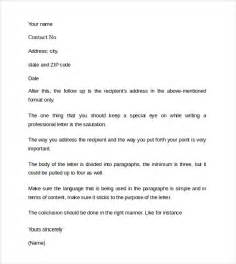 Exles Of Professional Cover Letters by Sle Professional Cover Letter Exle 9 Free Documents In Pdf Word