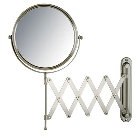 wall mounted lighted magnifying bathroom mirror pkgny com jerdon 16 in x 9 in wall mount mirror in matte nickel