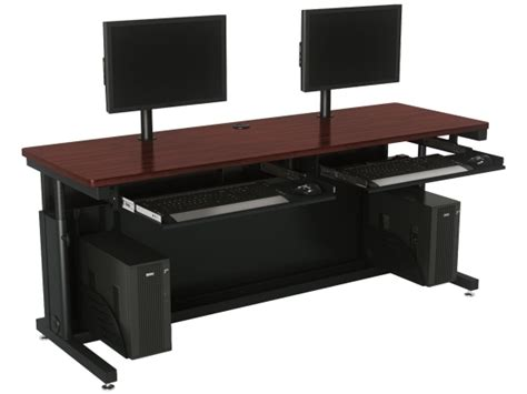 dual monitor desk setup deluxe height adjustable computer desk with dual monitor