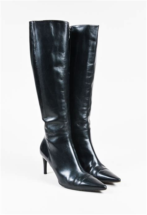mid heel knee high boots gucci black leather pointy toe mid heel knee high boots sz