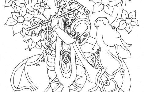 Glass Painting Krishna Outline by Krishna Flute Coloring Page Pencil