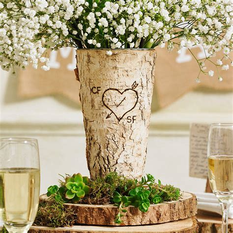 birch wood decor personalised rustic birch wood vase by letteroom