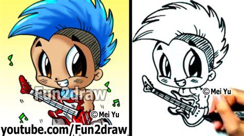 fun2draw how to draw cartoon people how to draw cartoon people chibi rockstar with guitar