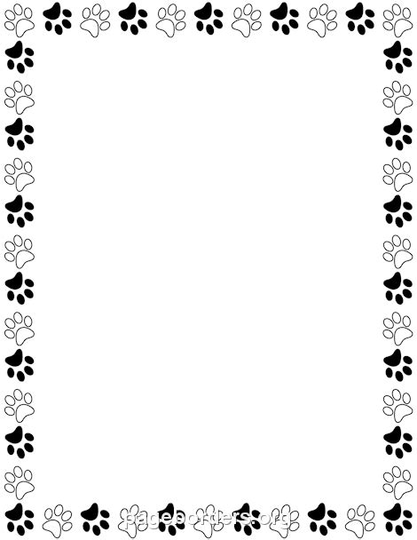 Paw Print Page Border Clip by Black And White Paw Print Border Davia