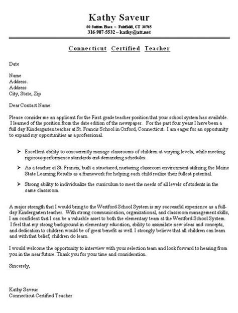 first grade teacher cover letter exle job search