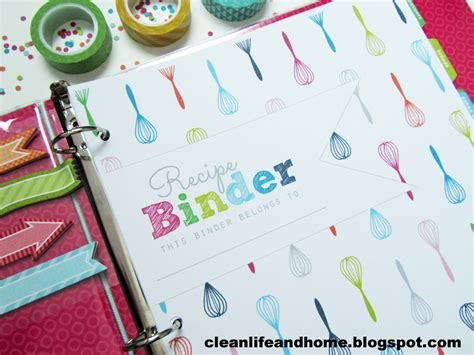 printable recipe binder covers clean life and home printable recipe binder with