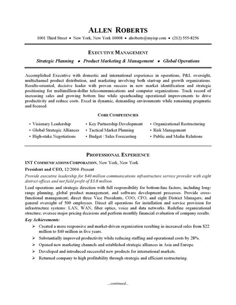 resume exle executive or ceo careerperfect com