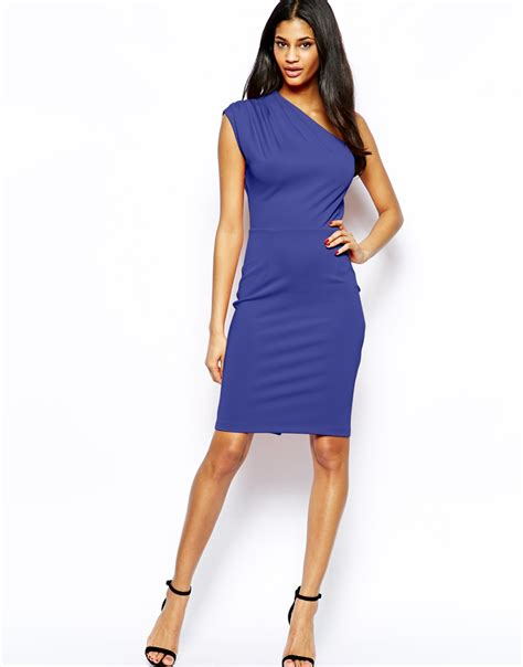 Dress Blue 1 asos pencil dress with pleated one shoulder in blue lyst