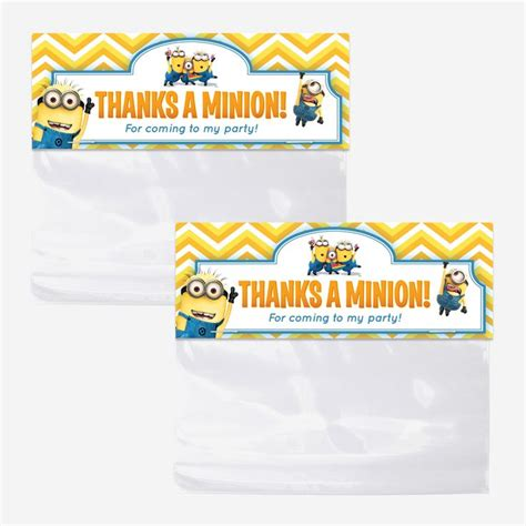 printable party bag toppers despicable me minions bag toppers printable favor bag