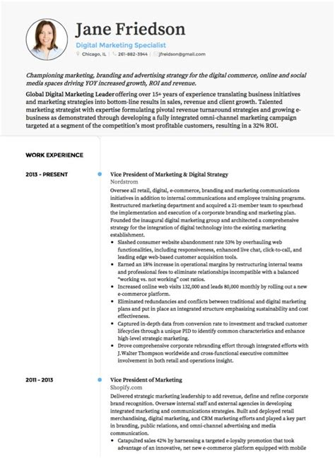exle of a marketing resume marketing cv exles and template