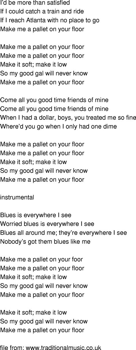 time song lyrics make me a pallet on your floor