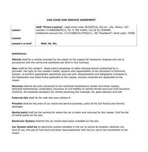 vehicle lease agreement template sle vehicle lease agreement template 7 free