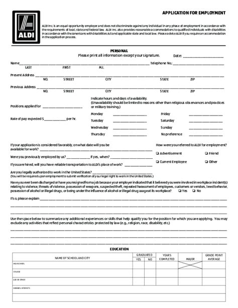 Printable Job Application For Aldis | image gallery job application aldi