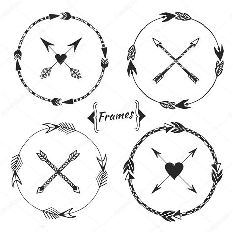 cornici tribali set of arrow frames tribal border stock vector 169 m ion
