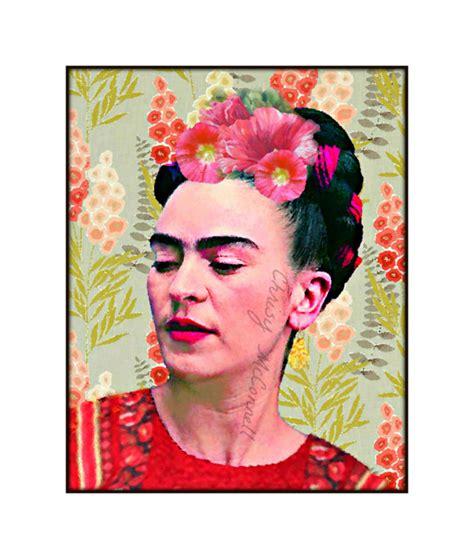 frida kahlo i paint 0500301239 frida kahlo painting hollyhocks modern photomontage poster