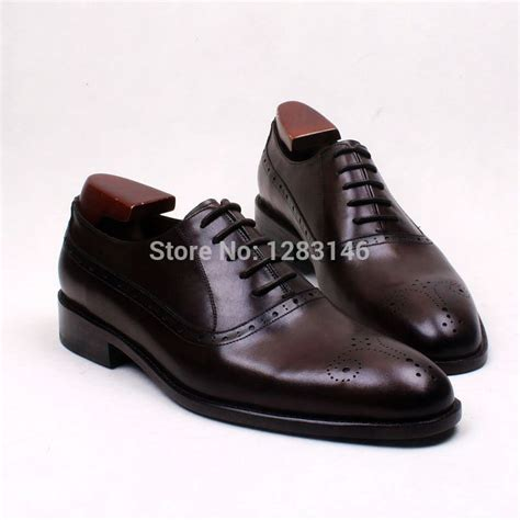 Handmade Leather Brogues - free shipping bespoke handmade genuine leather