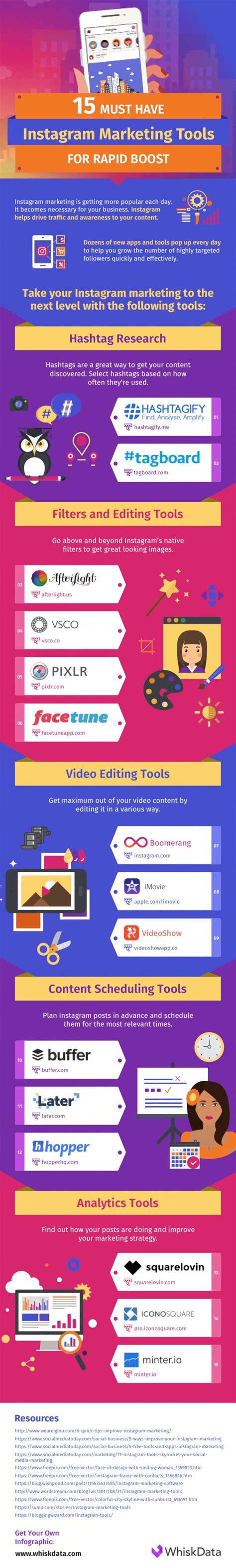 instagram design tools 15 instagram marketing tools infographic