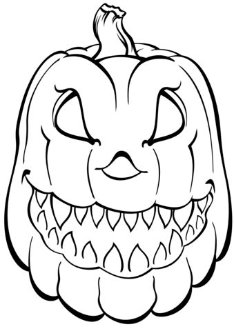Coloring Pictures Of Scary Pumpkins | scary pumpkin coloring page free printable coloring pages