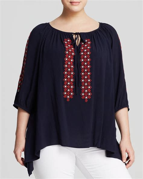 Navy Blue Blouse Plus Size by Plus Size Navy Blue Embroidered Peasant Blouse