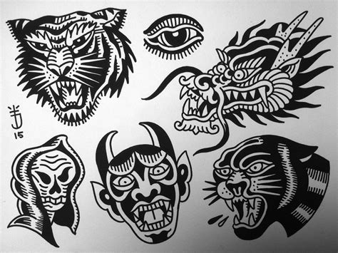 old school tattoo flash planche tatouage school joris flash tigre