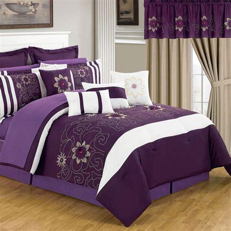 lavish home amanda purple  piece queen comforter set   pc   home depot