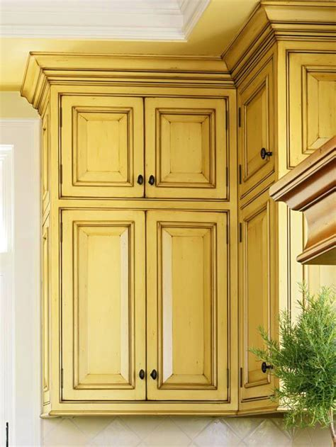 yellow kitchen cabinet distressed cabinets redecorating ideas kitchens pinterest