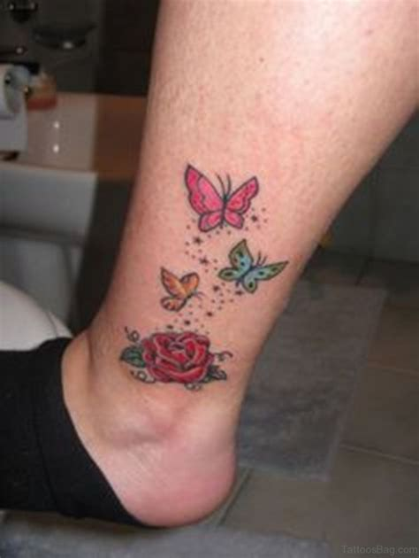 rose tattoo with butterfly 50 excellent butterfly tattoos on ankle