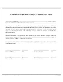 Credit Report Form Letters Credit Report And Authorization Release Free