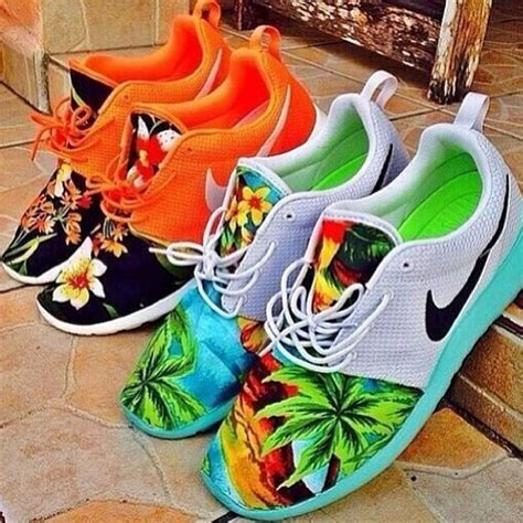 Nike Flower Orange shoes nike floral hawaiian orange shoes sneakers