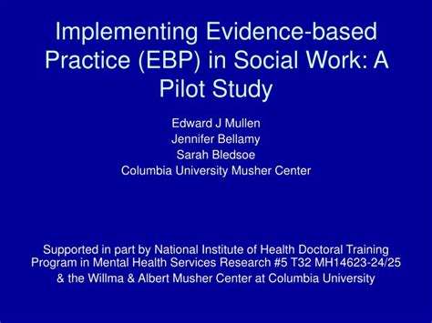 Implementing Evidence Based Practice A Review Of The Empirical Research Literature by Ppt Implementing Evidence Based Practice Ebp In Social Work A Pilot Study Powerpoint