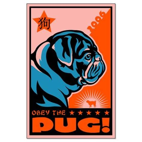 obey the pug year of the pug large propaganda poster on