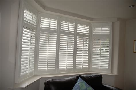 shutters with curtains blinds for bay windows interior design ideas