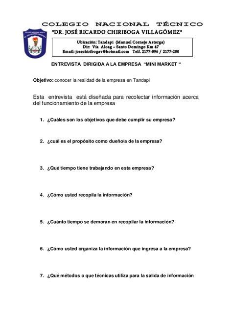 preguntas de entrevista a una empresa entrevista dirigida a la empresa