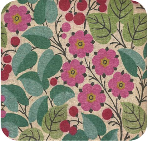 vintage 1950s cherries flowers upholstery weight fabric
