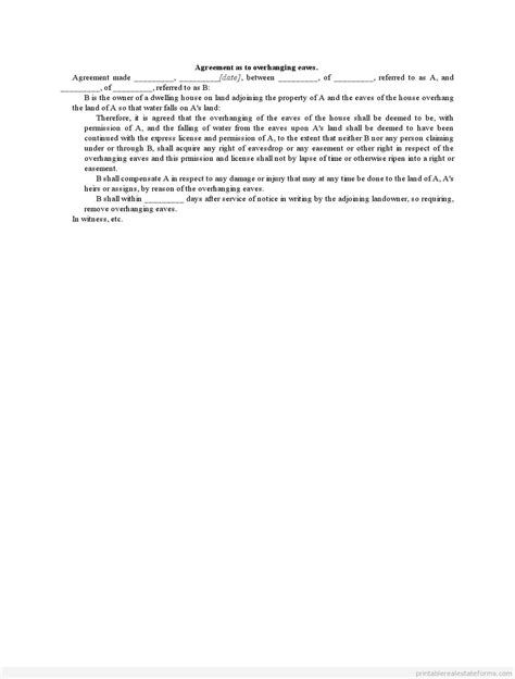Letter Of Easement Agreement Free Printable Temporary Easement Overhanging Eaves