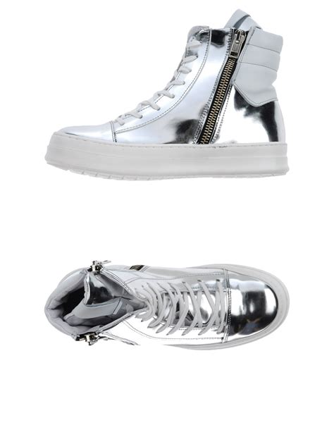 silver high top sneakers savio barbato metallic high top sneakers in silver for